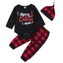 WESIDOM Christmas Baby Boys Girls Outfits with hat 3PCS,Toddler Infant Santa Long Sleeve Top and Classic Plaid Pants