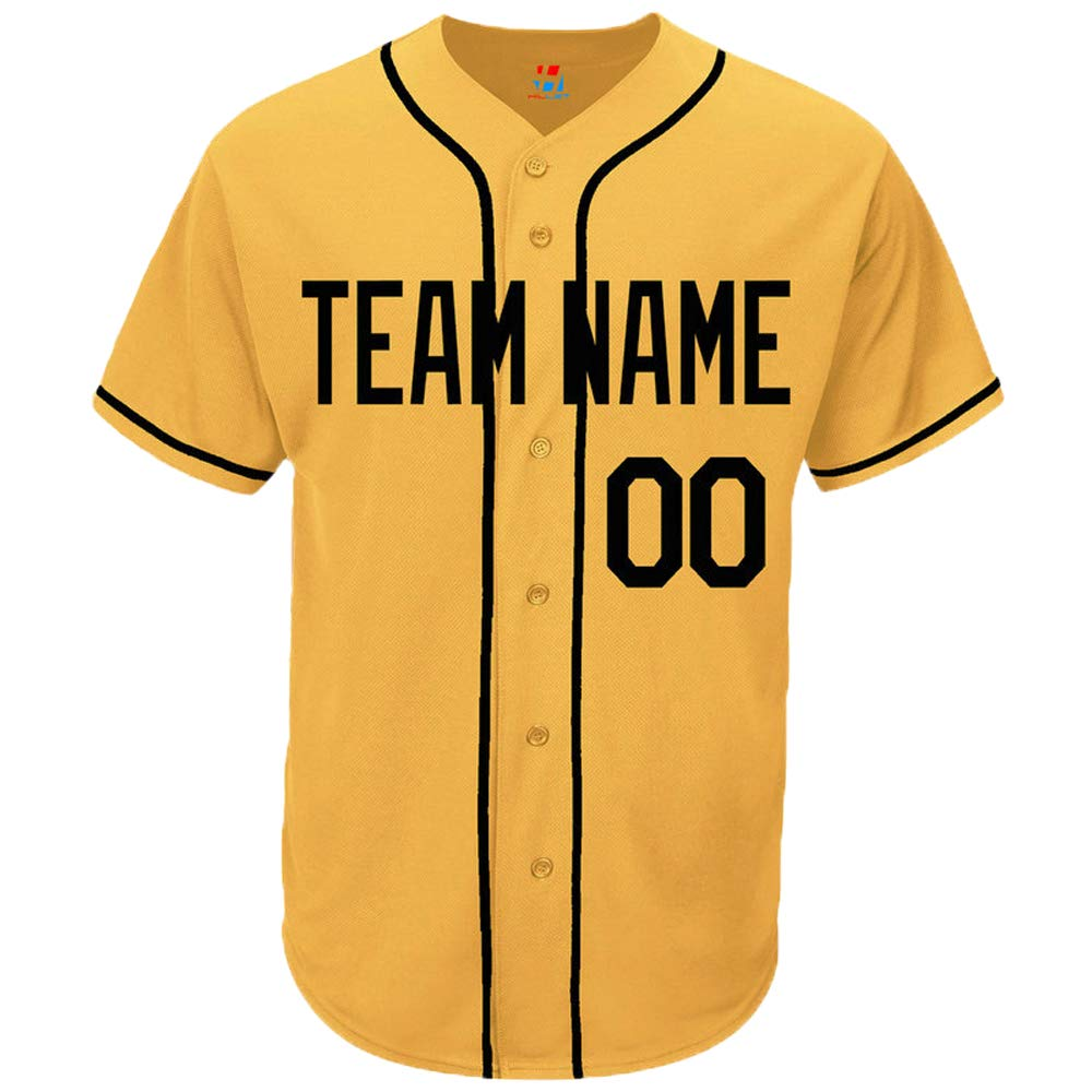 Pullonsy Yellow Custom Baseball Jersey for Men Women Youth Button Down Stitched Team Name & Numbers S-8XL - Design Your Own