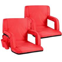 Sportneer Portable Stadium Seat Chair, Reclining Seat for Bleachers with Padded Cushion Shoulder Straps, 2 Pack