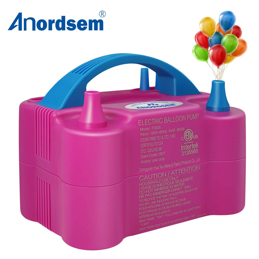 Anordsem Balloon Pump Electric Air Portable Dual Nozzles Balloon Inflator Devices 120V-60HZ 600W Pastel Balloon Blower for Decoration/Birthday/Party/Wedding
