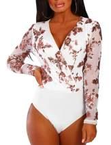 SEBOWEL Women V Neck Floral Sequin Bodysuit Mesh See Through Long Sleeve Jumpsuit Top