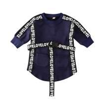 Merqwadd Toddler Baby Little Girl Sweatshirt Dress Letter Belt Spring Fall Casual Shirt Dresses