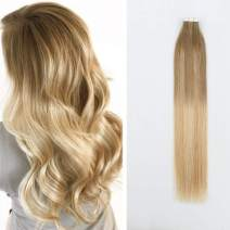 Sassina Fashion Color Tape in Hair Extensions, Reuable Tape Human Hair Skin Wefts Balayage Ash Brown Fading to Dark Honey Blonde to Platinum Ash Blonde 50g 20pcs (B8-18-60 18 Inch)