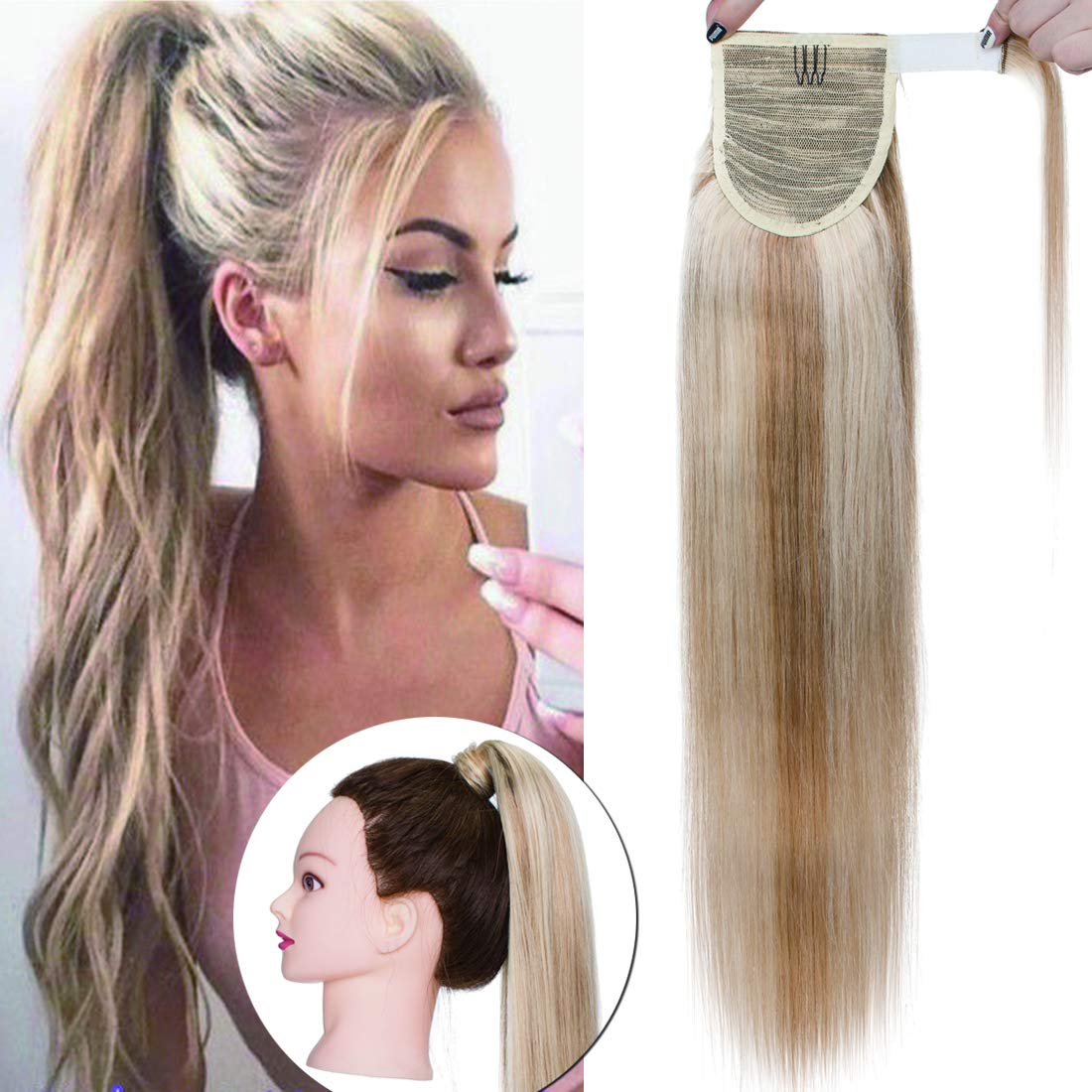 SEGO Wrap Around Ponytail Hair Extensions Human Hair Long Straight 100% Real Remy Hair Pony Tails Hair Extensions For Women #18P613 Ash Blonde&Bleach Blonde 22 Inch 95g