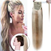 SEGO Ponytail Extension Human Hair Pony Tails Hair Extensions Wrap Around Ponytail Hair Extensions 100% Real Remy Hair With Magic Paste Long Straight #18P613 Ash Blonde&Bleach Blonde 14 Inch 80g