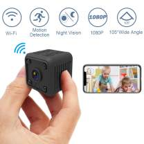 1080P Mini Spy Hidden Camera (Wi-fi), SYOSIN Wireless Hidden Camera Spy Camera with Automatically Night Vision/Motion Detection/Live Streaming/Cell Phone App for Android/iOS