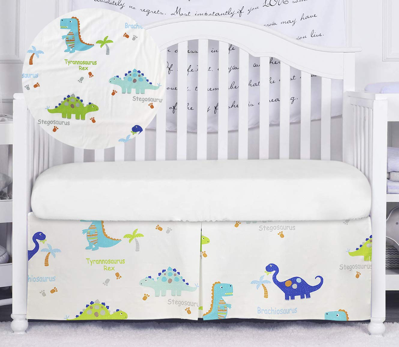Brandream Dinosaur Crib Skirt for Boys Blue White Nursery Bedding Skirt 100% Cotton Baby Boys Dinosaurs Crib Bedding Skirt 16'' Drop, Hot Baby Shower Gift