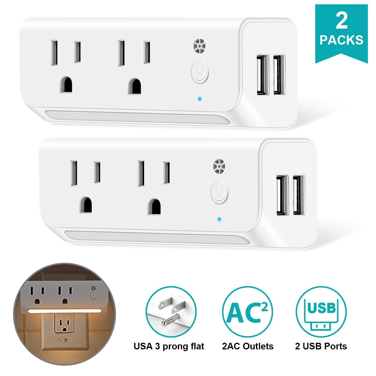 USB Multi Plug Outlet Extender 2 Packs with USB and Dusk-to-Dawn Sensor Night Light, Wall Charger Adapter with 2 AC Outlets 2 USB Ports Power Strip for Cruise Living Room Bedroom Toilet - White