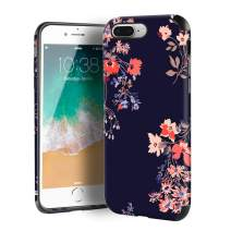 CUSTYPE iPhone 7 Plus Case, Case for iPhone 8 Plus, Blue Flower Floral Series Painted Flower Pattern Girls Women Design PC Leather with TPU Bumper Slim Protective Cover for iPhone 8 Plus/ 7 Plus 5.5''