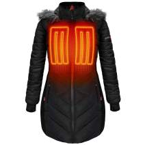 ActionHeat 5V Battery Heated Long Puffer Jacket for Women w/Faux-Fur Hood, Tri-Zone Heating, Touch Control, Power Bank