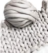 Super Chunky Vegan Yarn, Acrylic Bulky Thick Roving Washable Softee Chunky Jumbo Yarn for Arm Knitting DIY Kit Handmade Blankets Rugs Making (Grey, 60m)