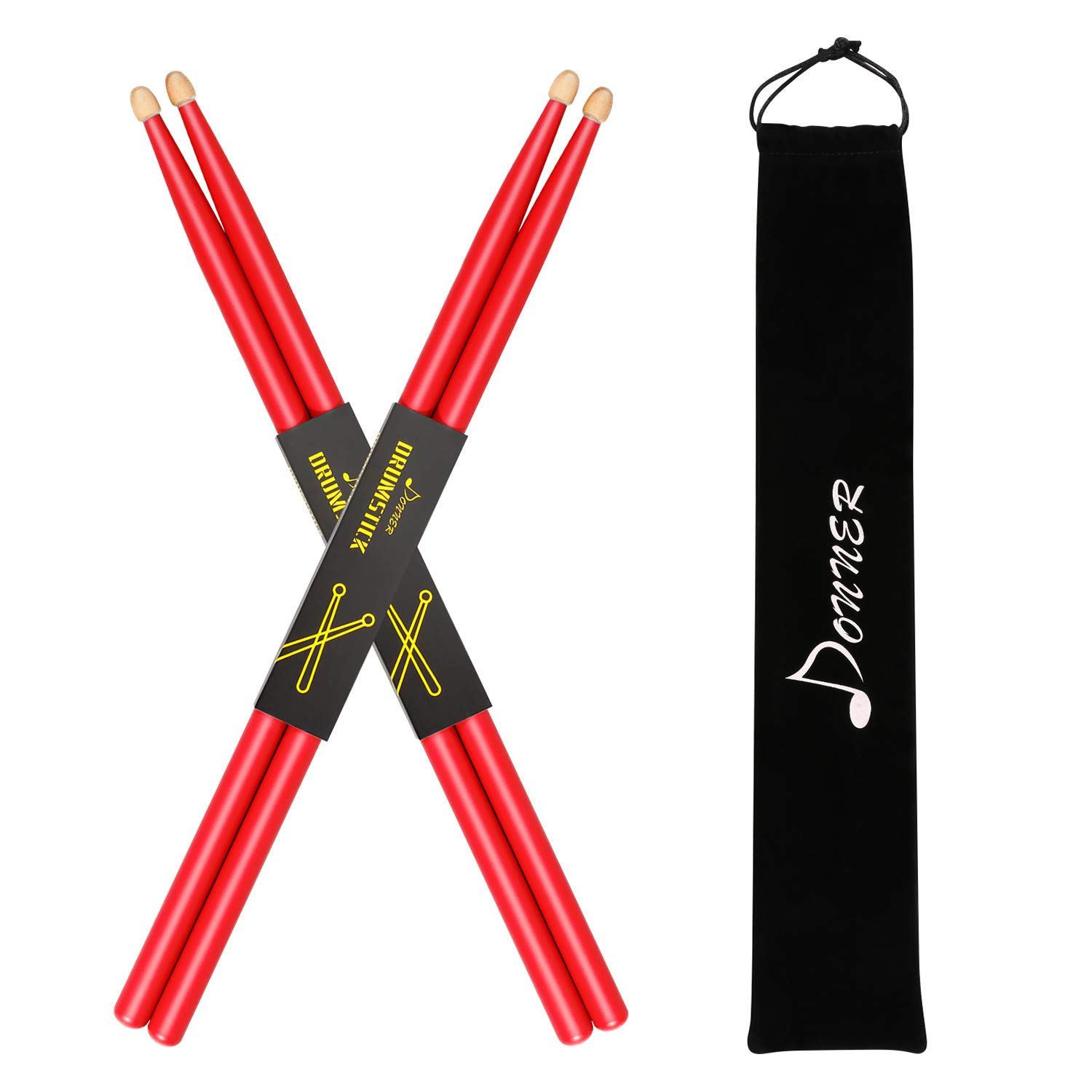 Donner Drum Sticks, 2 Pair 5A Snare Drumsticks Classic Maple Wood Drumstick with Carrying Bag (Red)