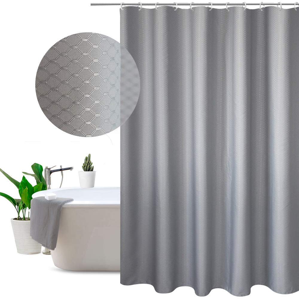 EurCross Solid Gray Waffle Weave Fabric Shower Curtain 78 x 78 inch, Heavyweight, Water-Repellent Bathroom Shower Curtain, Standard Size 78 Wide by 78 Long