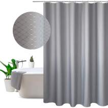 EurCross 108 x 78inch Extra Wide Large Shower Curtain, Solid Gray Waffle Weave Fabric Shower Curtain for Bathroom, Heavyweight, Water-Repellent 108inch Wide by 78inch Long