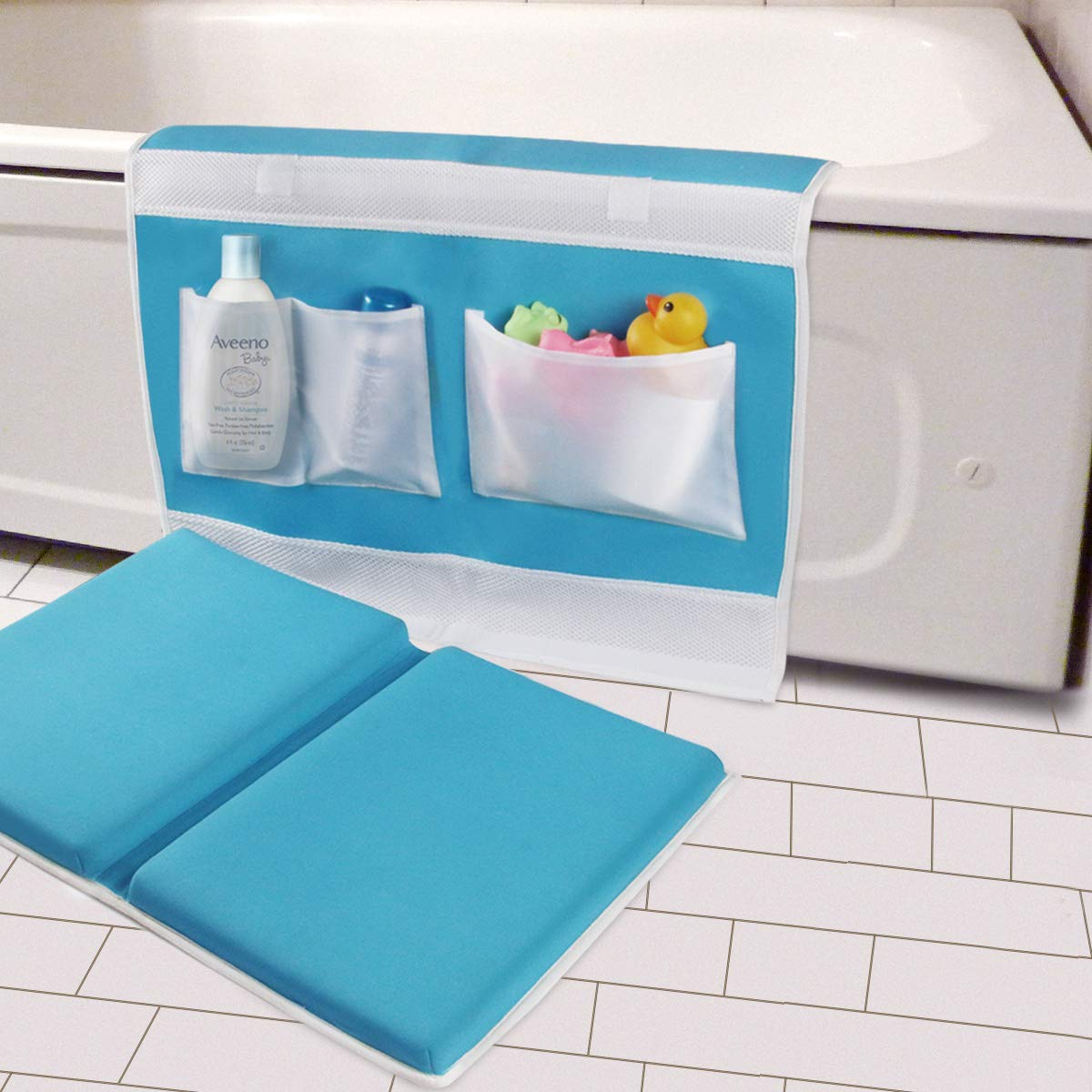 """Bath Kneeler with Elbow Rest Bathtub 1.5"""" Thick Kneeler Mat with Toy Organizer - Bath Kneeling Pad for Baby Bath Time - Detachable and Foldable Child Bath Tub Pad for Parents- Blue"""