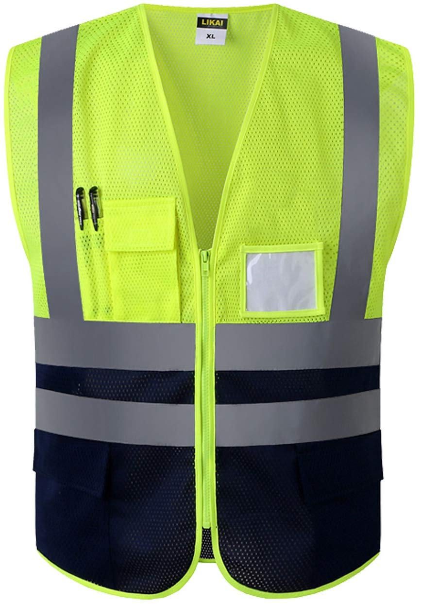 Multi Pockets Class 2 High Visibility Zipper Front Safety Vest With Reflective Strips.Meets ANSI/ISEA Standards (XL, Fluorescent yellow)