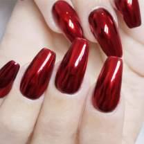 Victray Glossy Red Press on Nail Full Cover Fake Nails Ballerina Nail Tips Coffin Acrylic False Nails for Women and Girls (24PCS)