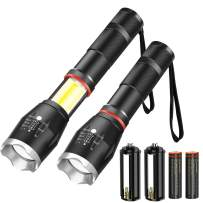 Spriak Magnetic Flashlight, 2 Pack Bright Flashlights 1000 Lumen, Side Work Light, 5 Modes Zoomable Waterproof for Camping Hiking Outdoor Household Power Cut-off (18650 Rechargeable Battery Included)