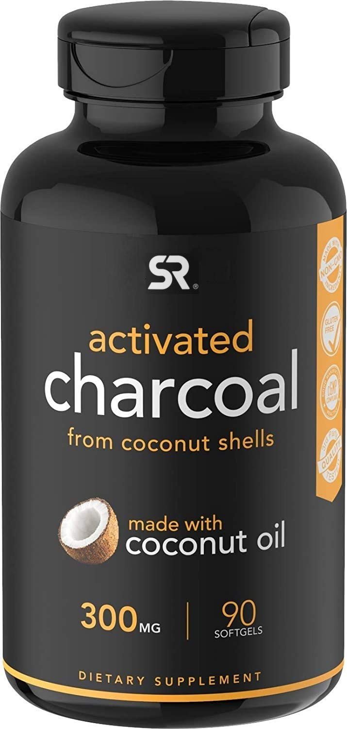 Coconut Activated Charcoal Infused with Organic Coconut Oil   Non-GMO & Gluten Free (90 Mess-Free softgels)