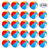 """Inflatable Beach Balls[24PACK] 10"""" Rainbow Beach Balls Pool Party Balls Bulk Beach Balls Rainbow Colored Beach Toys Perfect for Beach Sand Pool Party Favors Swimming Water Toys for Kids."""