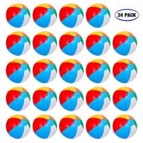 "Inflatable Beach Balls[24PACK] 10"" Rainbow Beach Balls Pool Party Balls Bulk Beach Balls Rainbow Colored Beach Toys Perfect for Beach Sand Pool Party Favors Swimming Water Toys for Kids."