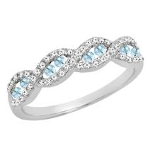 Dazzlingrock Collection 14K Round Gemstone & Diamond Ladies Swirl Anniversary Wedding Band, White Gold