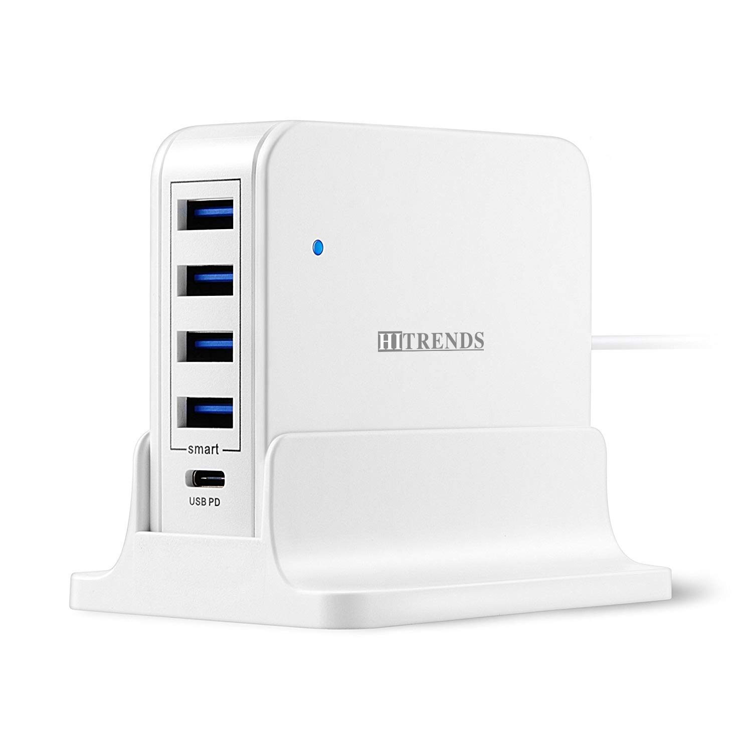 USB Charger Hub with USB Type-C PD Port(45W Max), Desktop Charging Station with 4 USB Ports (5V/2.4A), Multi-Port Charging Hub for MacBook Pro/Air, iPad Pro, Laptops, Tablets & Multiple Devices