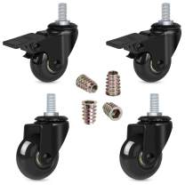 """Hirate 2"""" Caster Wheel with 3/8""""-16UNC Threaded Stem(2 Casters with Brake Lock), 4 Pack Swivel Stem Casters Wheels with Screw Inserts for Carts Furniture Trolley DIY Stands"""