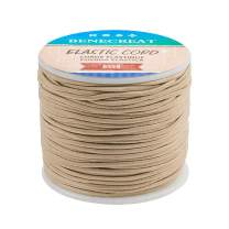 BENECREAT 2mm 55 Yards Elastic Cord Beading Stretch Thread Fabric Crafting Cord for Jewelry Craft Making (Beige)