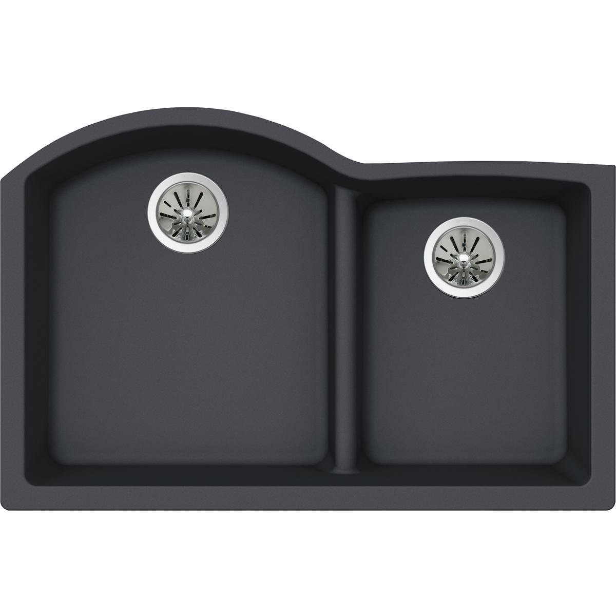 Elkay Quartz Luxe ELXHU3322RCH0 Charcoal Offset 60/40 Double Bowl Undermount Sink with Aqua Divide