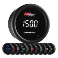 """GlowShift 10 Color Digital 2200 F Pyrometer Exhaust Gas Temperature EGT Gauge Kit - Includes Type K Probe - Multi-Color LED Display - Tinted Lens - for Car & Truck - 2-1/16"""" (52mm)"""