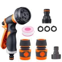 mozeeda Garden Hose Nozzle Sprayer Set, High Pressure Anti-Leak Spray Gun - 8 Way Spray Pattern for Car and Yard Cleaning Lawn and Garden Watering, Dog and Pets Showering