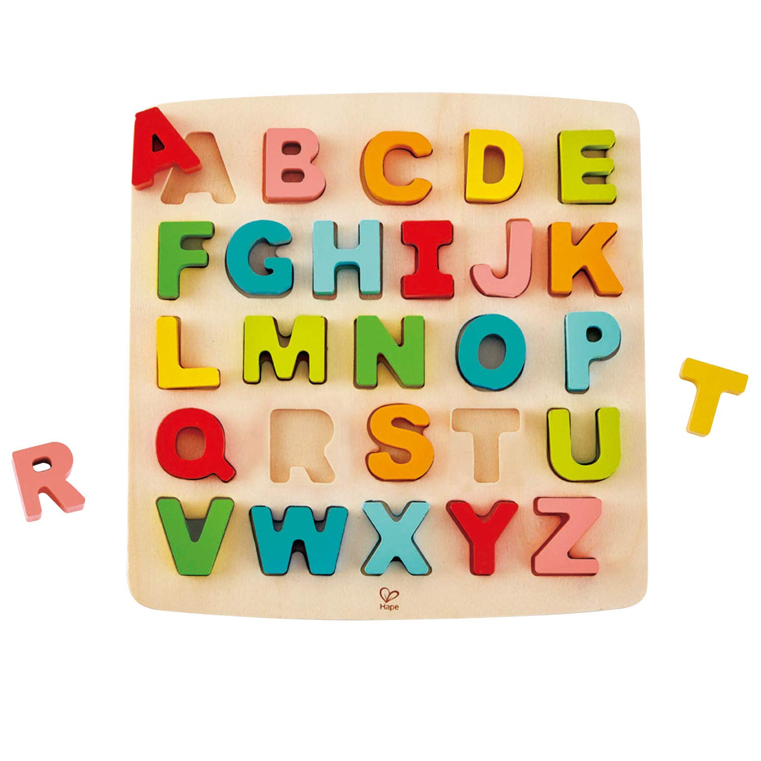 Hape Alphabet Blocks Learning Puzzle   Wooden ABC Letters Colorful Educational Puzzle Toy Board for Toddlers & Kids, Multi-Colored Jigsaw Blocks, 5'' x 2''