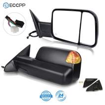 ECCPP Towing Mirror Replacement fit for Dodge Ram 1500 2500 3500 Power Heated LED Puddle Signal Pair Mirrors 2009-2016