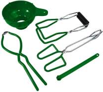 Canning Kits- Canning Jar Lifter with Grip Handles, Jar Tongs, Jar Wrench, Lid Lifter, Funnel for Wide Mouth and Regular Jars in Home Canning Supplies, Kitchen Tool Anti-Scald Clip Suit (GREEN-5PCS)