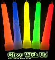 "Glow Sticks Bulk Wholesale, 25 6"" Industrial Grade Industrial Grade Light Sticks. Assorted Bright Colors, Glow 12-14 Hrs, Safety Glow Stick with 3-Year Shelf Life, GlowWithUs Brand"