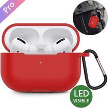 HQzon Compatible Case for Airpods Pro [3rd Generation] Soft Silicone Protective Cover[Front LED Visible](Red)