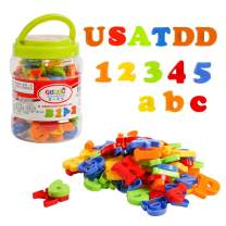 USATDD Magnetic Letters Numbers Alphabet Fridge Refrigerator Magnets Colorful Class ABC 123 Educational Toy Set Preschool Learning Spelling Counting Uppercase Lowercase Math Symbols for Kids Toddlers