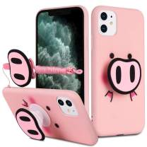 HikerClub iPhone 11 Pro Case Pink Pig Cute 3D Cartoon Case with Airbag Holder Stand and Lanyard Soft TPU Ultra Thin Slim Shockproof Protection Case (Pink Pig, iPhone 11 Pro)
