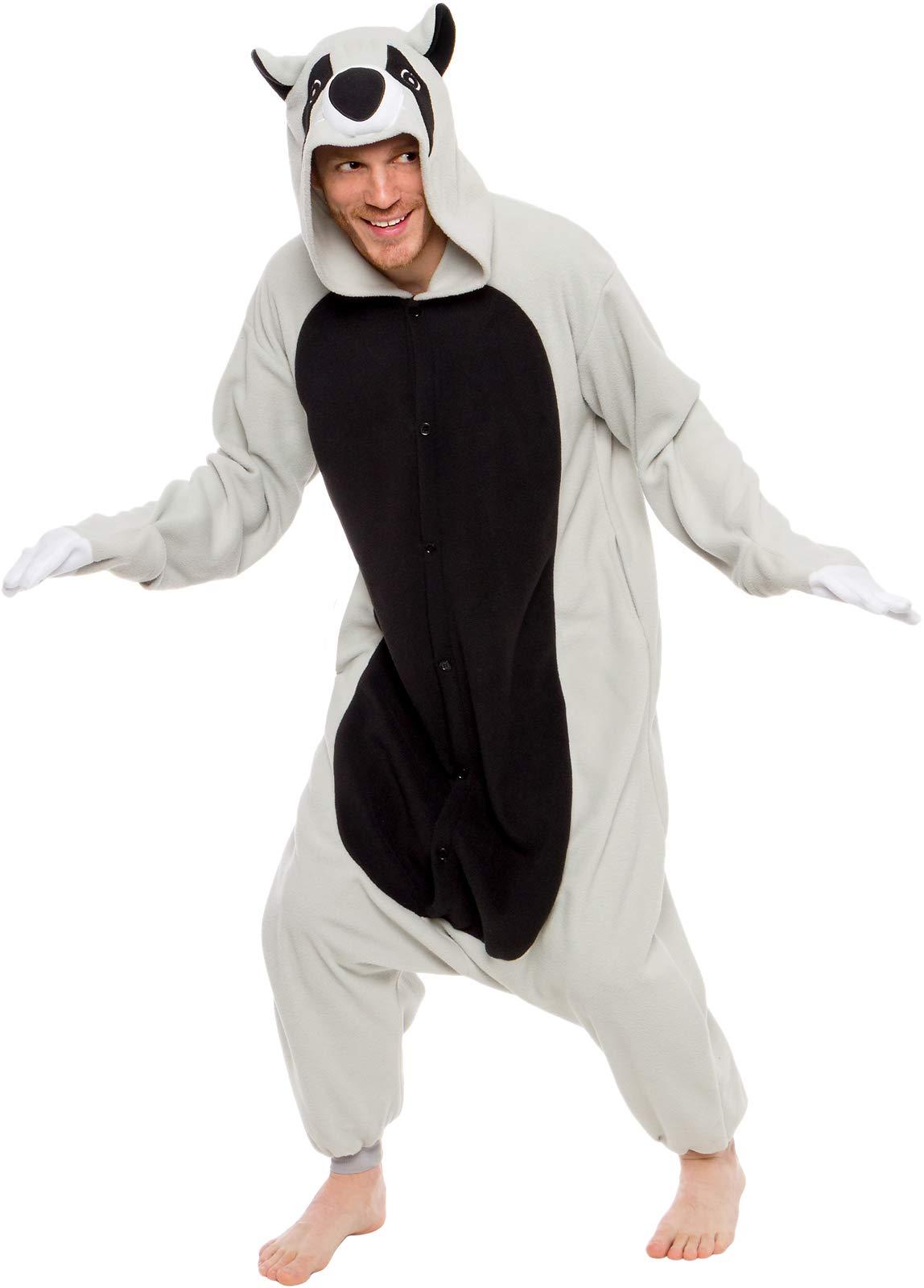 Silver Lilly Unisex Adult Pajamas - Plush One Piece Cosplay Animal Raccoon Costume