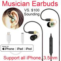 Daioolor EP187 Wired Musician Earbuds Lightning iPhone Earphones - 3 Month Refund-Return for Quality Issue