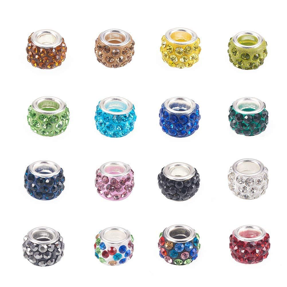 Pandahall Rhinestone Glass European Beads Polymer Clay Large Hole Slide Crystal Charms with Silver Tone Brass Cores Mixed Color Spacer Beads Fit European Bracelet Snake Chain