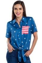 Tipsy Elves Women's USA Patriotic Tie Shirt - Cute American Flag Patriotic Hawaiian Shirt for Ladies