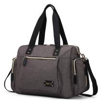 HaloVa Diaper Bag, Baby Diaper Tote, Trendy Mommy Maternity Nappy Duffel Bag, Large Weekender Handbag with Shoulder Strap, Baby Changing Pad and Wet Clothing Bag, Insulated Milk Bottle Poc, Brown Gray