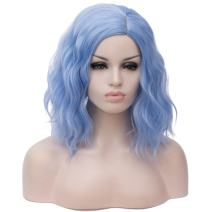 """BUFASHION 14"""" Women Short Light Blue Kinky Straight Cosplay Synthetic Wigs With Air Bangs 46 Colors Available (Light Blue)"""