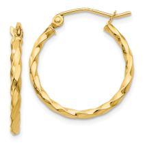 14k Yellow Gold Twist Hoop Earrings Ear Hoops Set Fine Mothers Day Jewelry For Women Gifts For Her