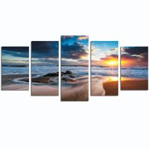 LevvArts - Amazing Seascape Canvas Print Beautiful Sunrise on Sea Canvas Painting Giclee Art for Wall Decor,Framed and Easy Hanging
