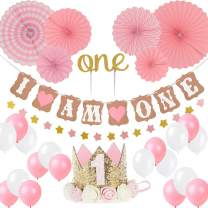 Girl 1st Birthday Decoration-Baby Girl/boy 1st Birthday Party Hat Princess Tiara Crown, Cake Topper one, I Am one and Stars Banner, Pink Hanging Paper Fan Flower, Pink and White Balloons