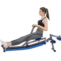 Foldable Hydraulic Rowing Machine, Squat Assist Row-Ride Trainer for Squat Exercise and Glutes Workout, Waist Supine Board Sit Up Bench Push Ups Fitness Equipment Padded Seat for Home Use