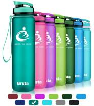 Grsta Best Sports Water Bottle -32oz&27oz&20oz- Wide Mouth Leak Proof BPA Free& Eco-Friendly Plastic Water Bottle for Outdoor/Running/Camping/Gym Flip Top & Filter 1-Click Open